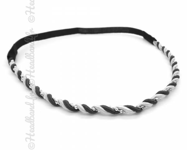 Headband torsadé noir et argenté