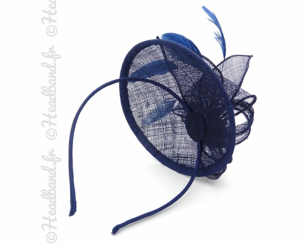 serre tte chapeau bleu zoom - Serre Tete Chapeau Mariage