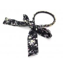 Serre-tête foulard noir imprimé fleuri zoom