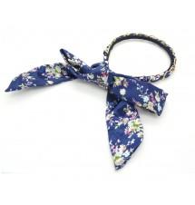 Serre-tête foulard bleu zoom