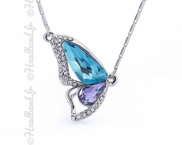 Collier aile papillon cristaux bleu et violets