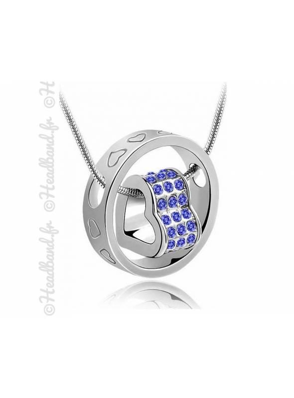 Collier anneau cœur violet