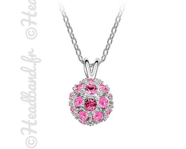 Collier boule cristaux rose