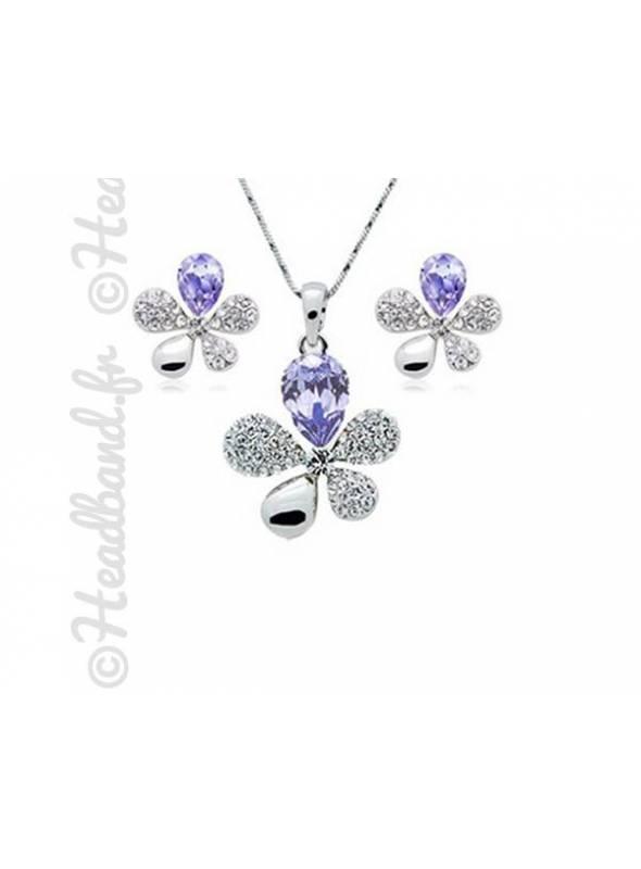 Collier et boucles fleur cristaux violet