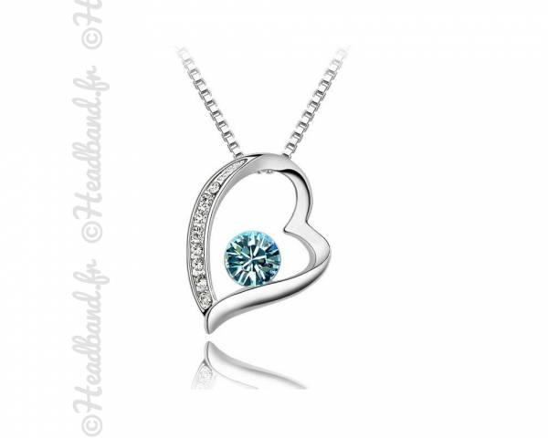 Collier fantaisie cœur bleu