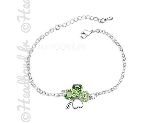 Bracelet original trèfle vert