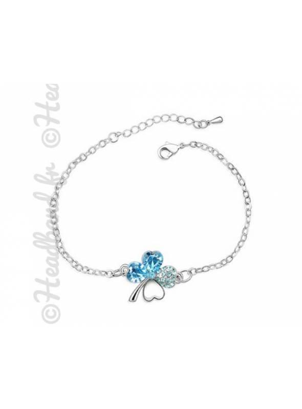 Bracelet trèfle cristal bleu