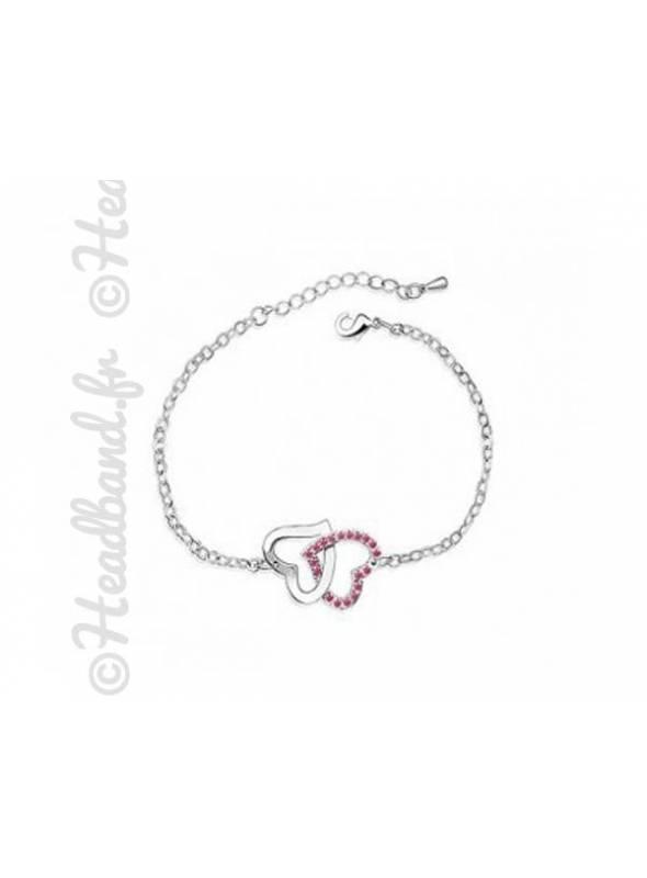 Bracelet duo cœurs cristaux rose