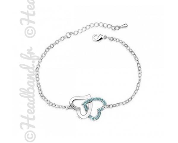 Bracelet duo cœurs cristaux bleu