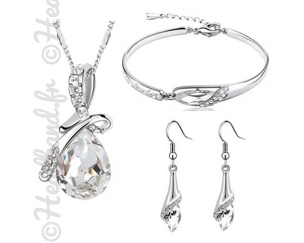 Parure bijoux cristaux blanc
