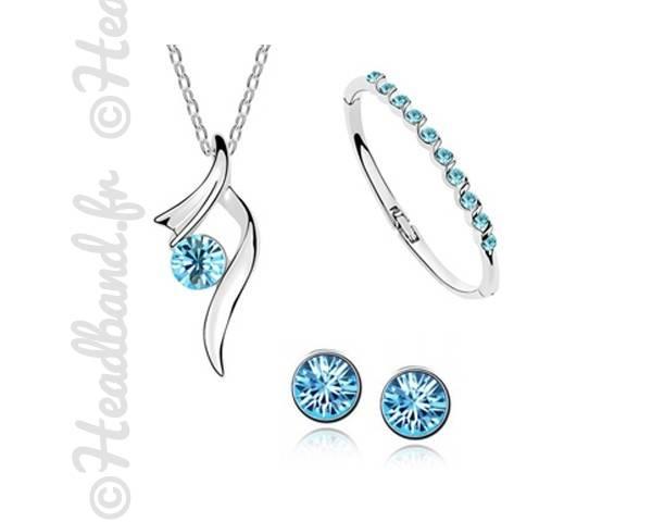 Parure élégante cristaux bleu