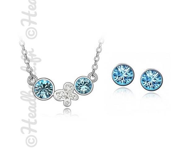Parure bijoux papillon cristaux bleu