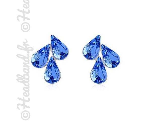 Boucles d'oreille trio cristaux bleus