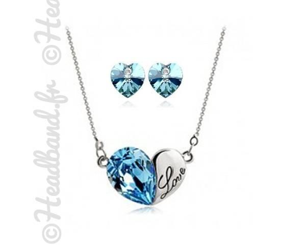 Parure love cristaux bleus