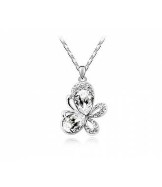 Collier butterfly cristal blanc