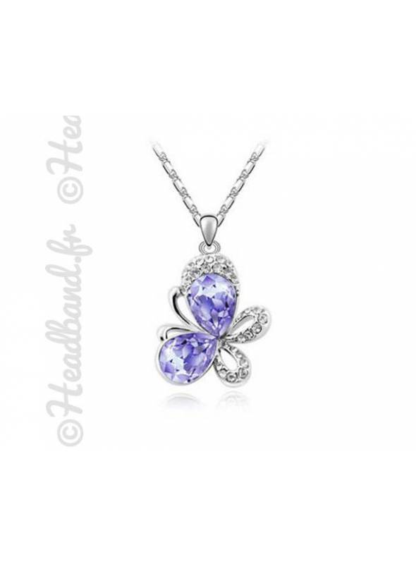 Collier butterfly cristal violet