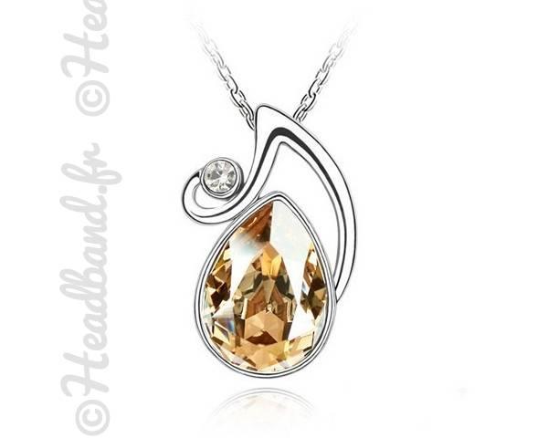 Collier médaillon cristal jaune