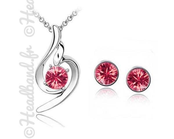 Set collier et boucles tribal rose