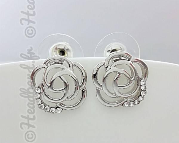 Boucles d'oreille rose cristaux blanc