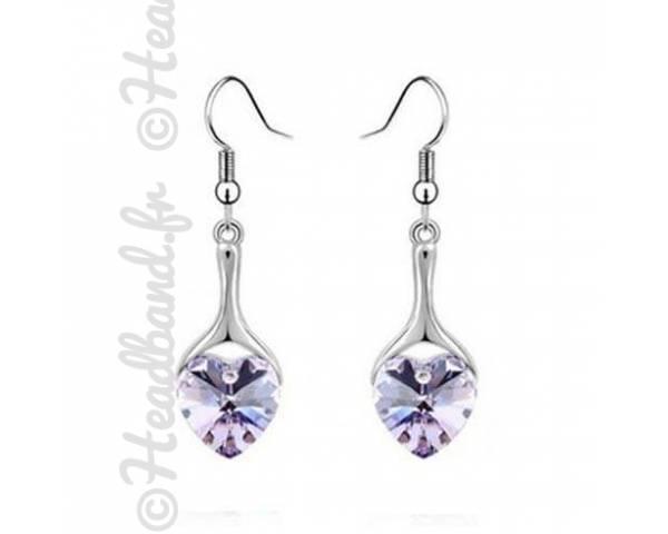 Boucles pendentif cœur violet