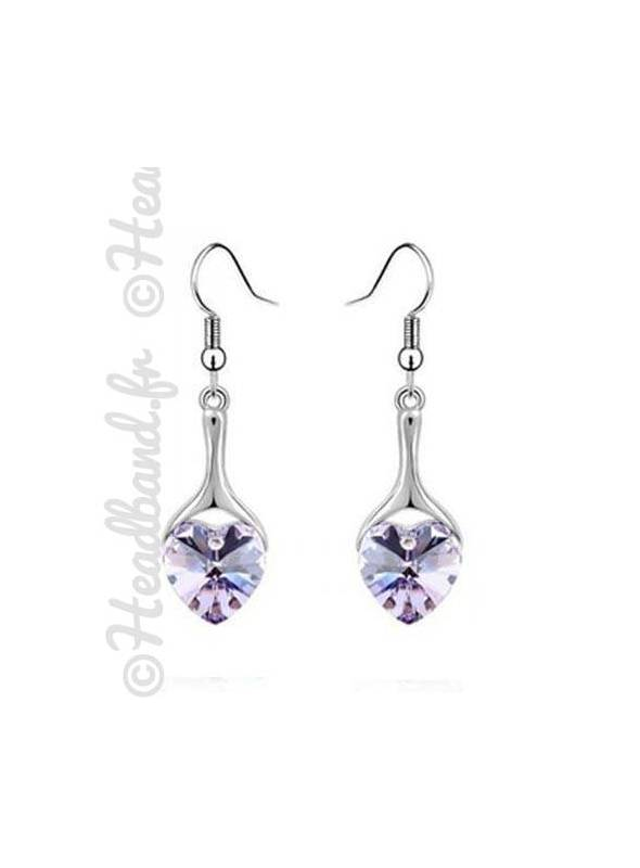 Boucles d'oreille pendentif cœur violet