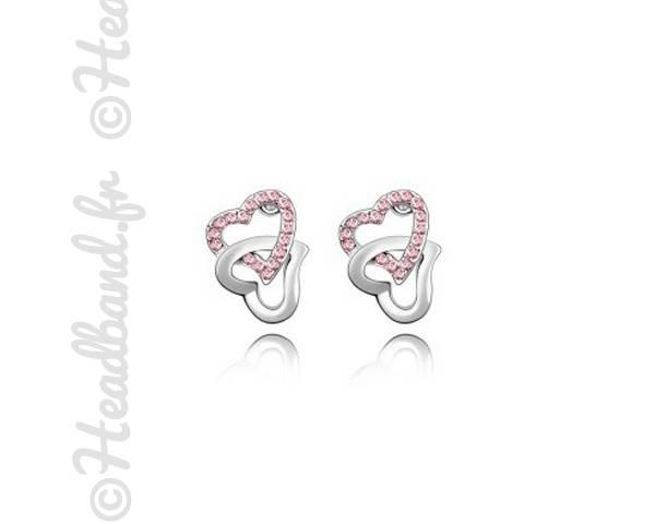 Boucles puces double cœur rose