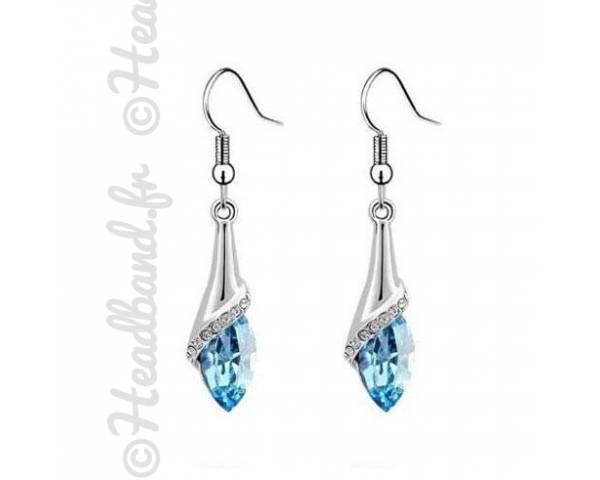 Boucles d'oreilles goutte cristal bleu