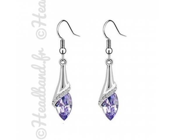 Boucles d'oreilles goutte cristal violet
