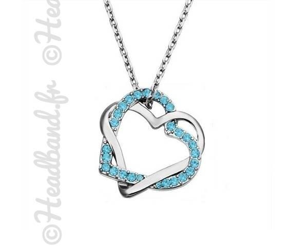 Collier cœurs entrelacés bleus