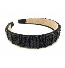 Serre-tête large perlé noir porté