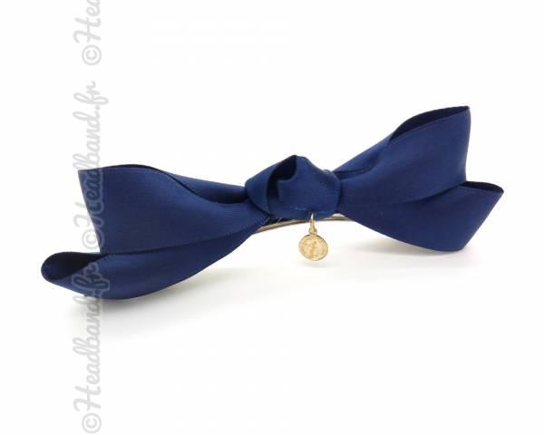 Barrette nœud bleu foncé