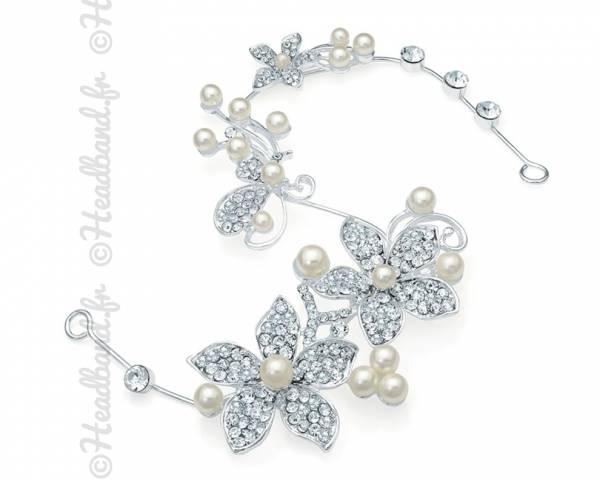 Tiare mariage fleur et perles