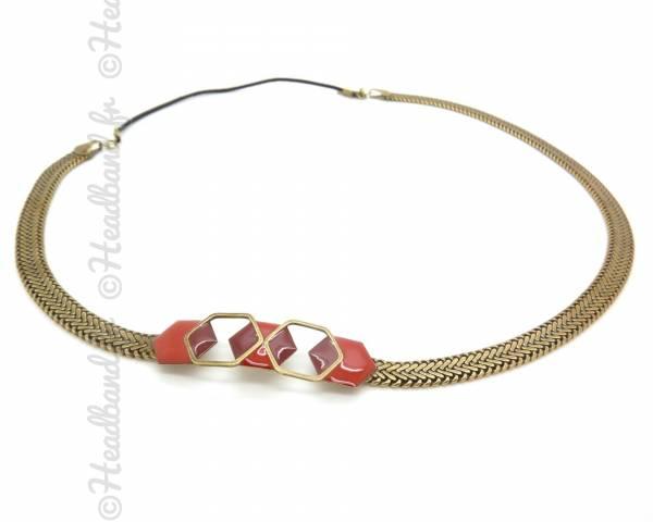 Headband Hexabis rouge et grenat