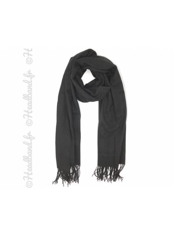 Foulard style pashmina noir