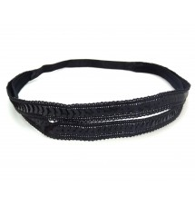Headband double sequins noir