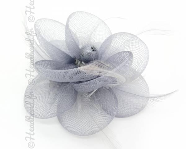 Bibi tulle fleur gris