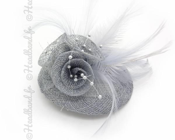 Mini chapeau bibi gris