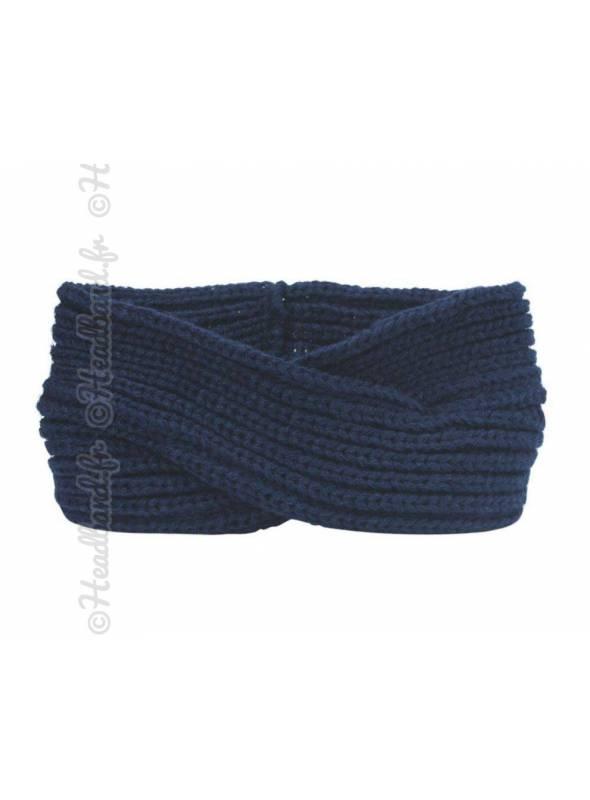 Headband tricoté croisé bleu