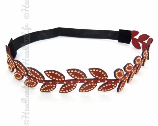 Headband feuilles clouté rouge