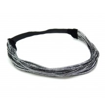 Headband stretch lurex argenté porté