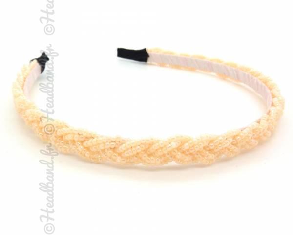 Serre-tête perles tressé beige orangé