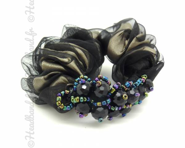 Chouchou perles chic noir