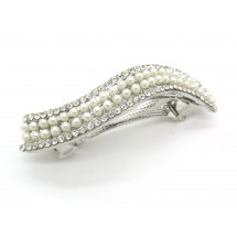 Pince vague perles blanches et strass dos