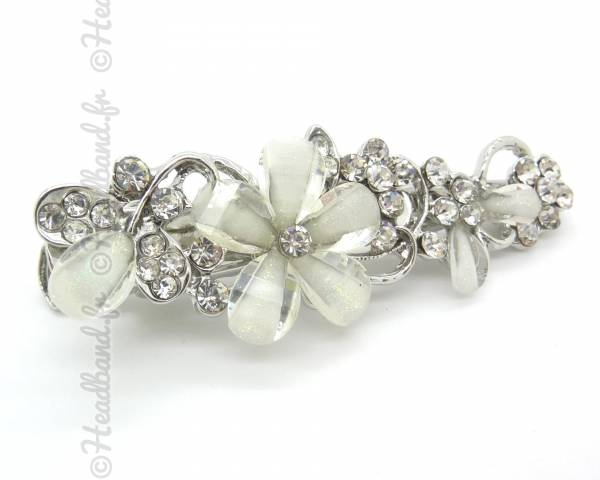 Pince clip strass fleur nacrée