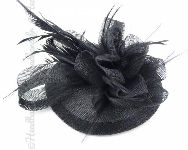 Chapeau cocktail à plumes noir