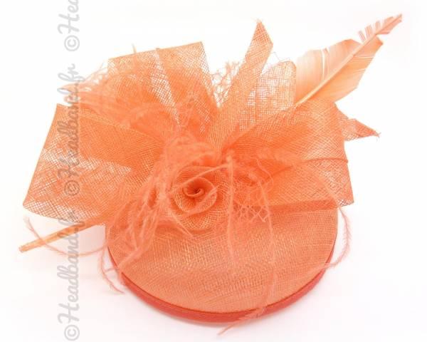 Chapeau plumetis ruban corail