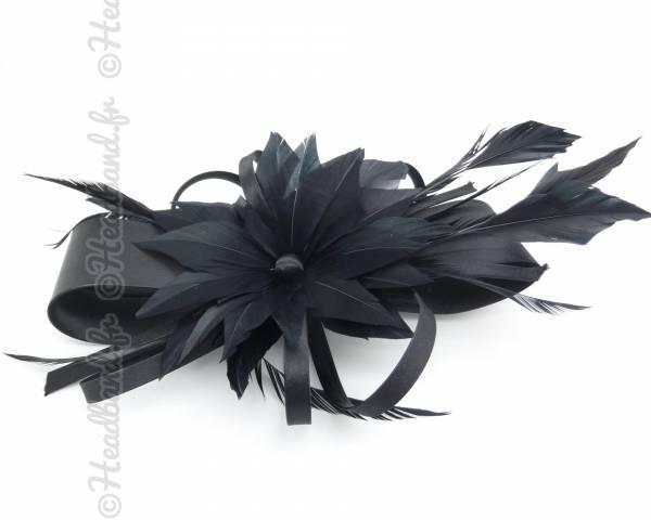 Coiffe ruban satin noir