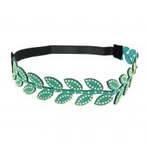 Headband imitation daim feuilles turquoise zoom