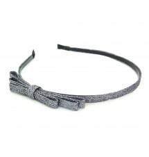 Serre-tête noeud glitter gris porté