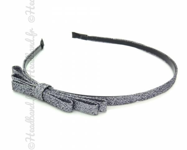 Serre-tête noeud glitter gris